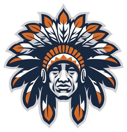 Illustration pour head of indian chief mascot - image libre de droit