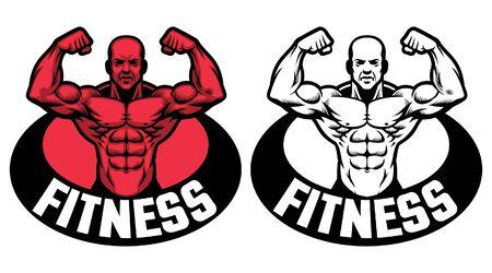set of muscle bodybuilder