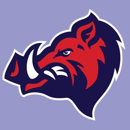 Illustration pour head mascot of wild boar - image libre de droit