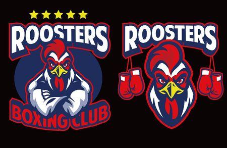 Illustration pour set of rooster boxing mascot - image libre de droit