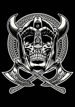 Illustration pour black and white skull viking warrior - image libre de droit