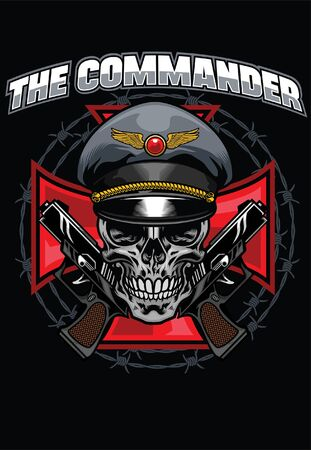 t-shirt design of military skull commander