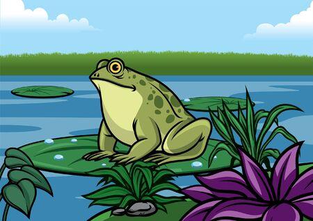 Illustration pour frog in the lake - image libre de droit