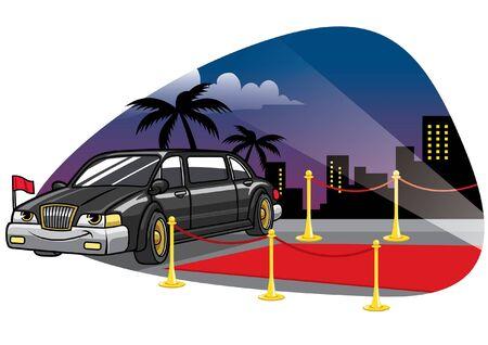 Illustration pour cartoon character of limousine sedan on red carpet - image libre de droit