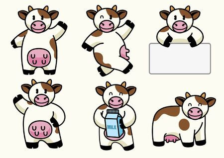Ilustración de set bundle character of cartoon cow - Imagen libre de derechos