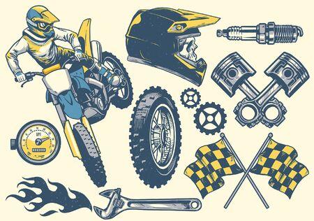 Illustration pour set of hand drawn of motocross design - image libre de droit