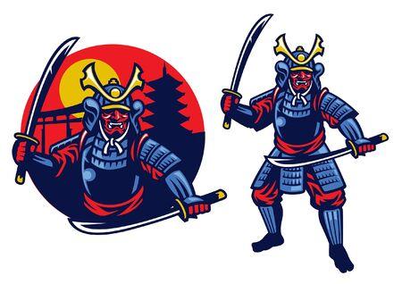 Illustration pour samurai warrior mascot in set with badge - image libre de droit