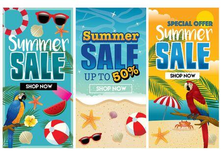 Illustration pour three summer flyer design - image libre de droit
