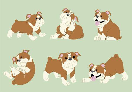 Illustration pour set  bundle of bulldog cartoon character - image libre de droit