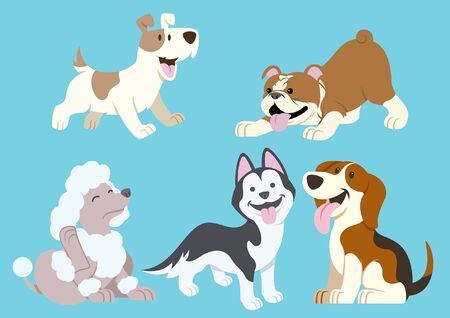 Illustration pour set of dogs puppies collection - image libre de droit