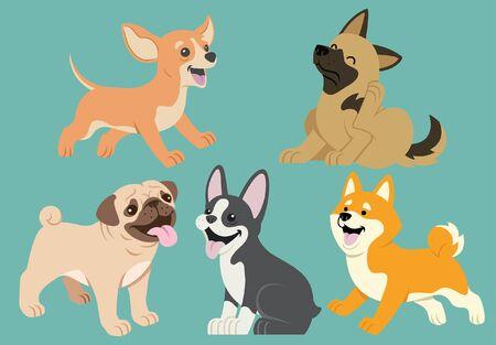 Illustration pour set of dog puppies - image libre de droit