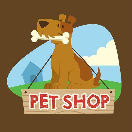 Illustration pour pet shop design with dog hold the bone cartoon character - image libre de droit