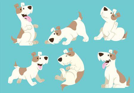 Illustration pour set cute of jack russel dog in cartoon style - image libre de droit