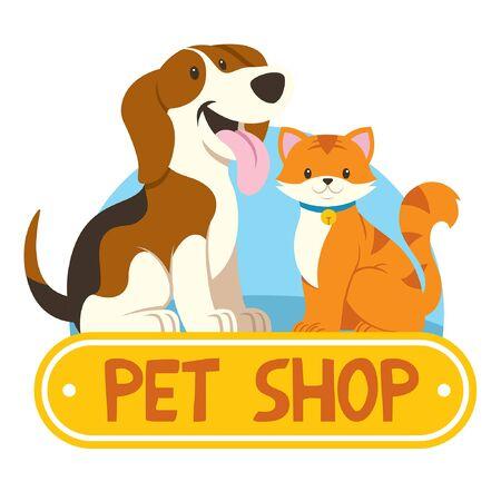 Illustration pour pet shop design with cat and dog - image libre de droit