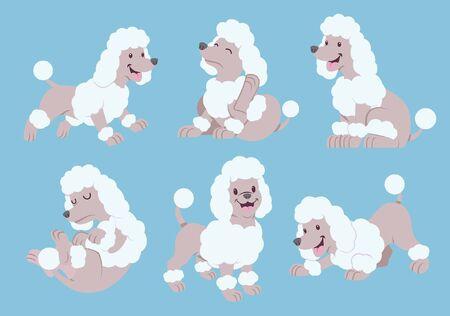Illustration pour set bundle cute poddle dog - image libre de droit