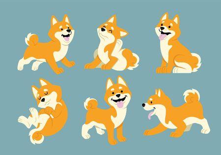 Illustration pour set bundle of cute shiba inu dog in cartoon - image libre de droit