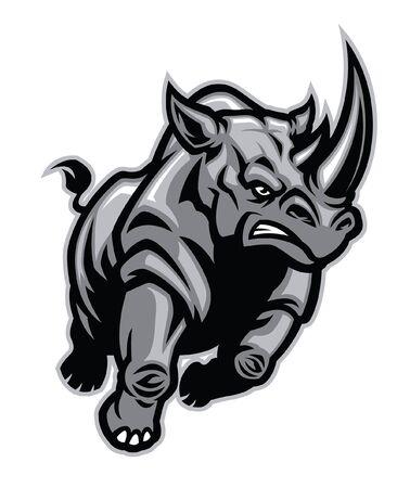 Ilustración de angry aggressive rhino running - Imagen libre de derechos