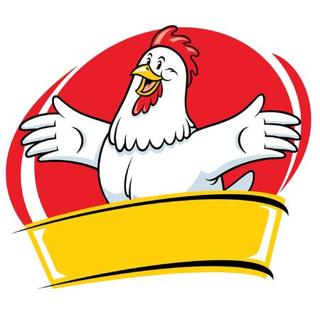 Illustration pour vector of happy rooster badge design  with blank banner for text - image libre de droit