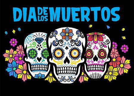 Illustration pour three sugar skull dia de los muertos celebration design - image libre de droit