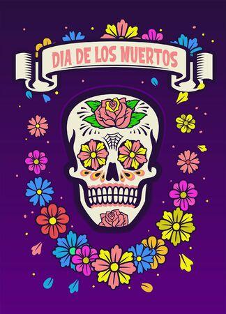 Illustration pour dia de los muertos colorful design with sugar skull - image libre de droit
