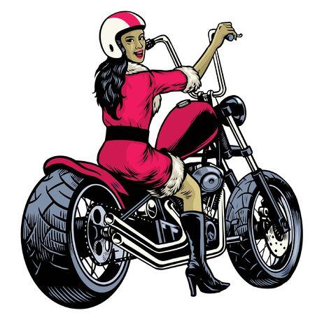 Illustration pour lady cosplay santa claus riding chopper motorcycle - image libre de droit