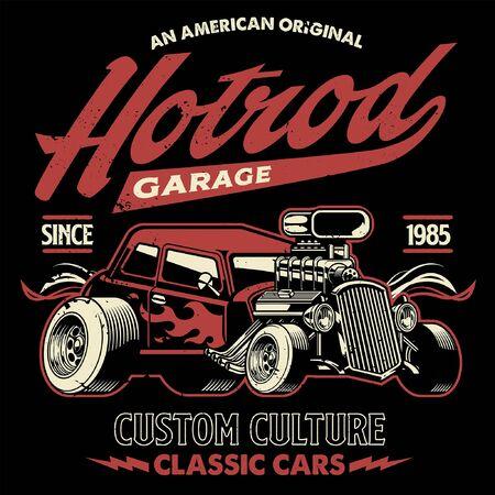 Illustration pour vintage design of american hotrod car - image libre de droit