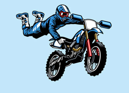 Illustration for motocross rider jumping on the motorcycle with hart attack trick - Royalty Free Image