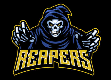 Illustration pour vector of skull grim reaper mascot - image libre de droit