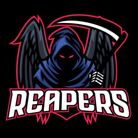 Illustration pour vector of dead mascot reaper with black wings - image libre de droit