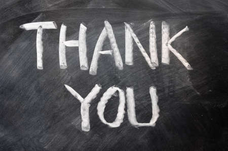 Handwriting of Thank you on a blackboard