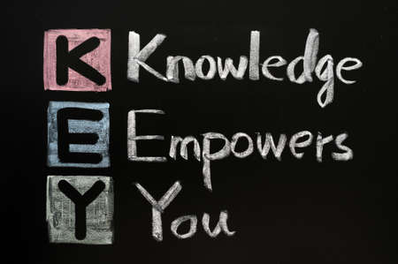 KEY acronym - Knowledge empowers you on a blackboard with words written in chalk