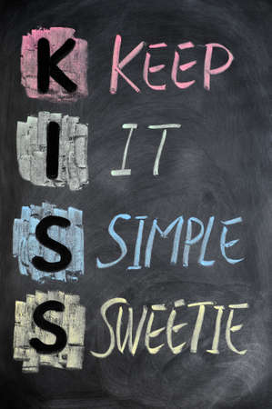 KISS acronym written in colorful chalk on a blackboard