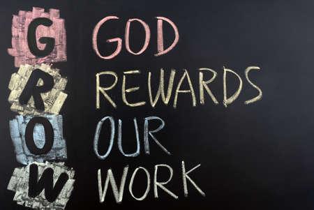 GROW acronym for God rewards our work.
