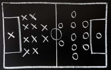 Soccer formation tactics drawn in chalk on a blackboard