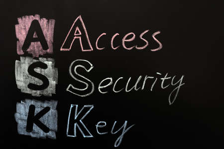 Acronym of ASK - Access security key written in chalk on a blackboard