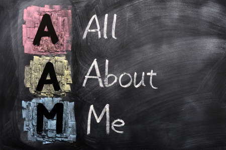Acronym of AAM for All About Me written in chalk on a blackboard