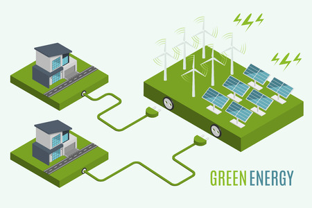 Houses With Alternative Eco Green Energy Flat 3d Web