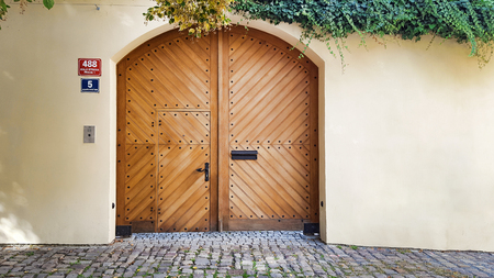 Wooden brown arch gate door, white walls, dangling ivy