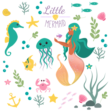 Illustration for Cute set Little mermaid and underwater world. Fairytale princess mermaid and seahorse, fish, jellyfish, crab. Under water in the sea mythical marine collection - Royalty Free Image
