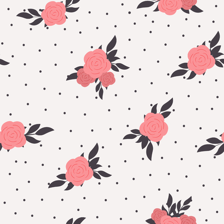 Illustration pour Seamless floral polka dot background. Shabby chic style pattern with pink roses - image libre de droit