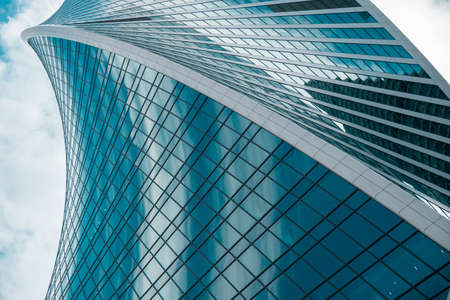 Photo pour Skyscraper in a finance district, urban city architecture. - image libre de droit