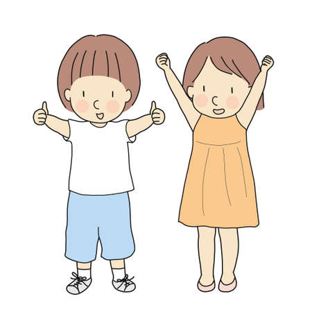 Illustration pour Vector illustration of two kids, boy with thumbs up and girl with raised arms & fits celebrating success. Sign and gesturing - okay, yes, well done, victory, winner. Cartoon character drawing style. - image libre de droit