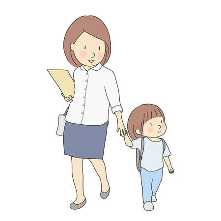 Illustration pour Vector illustration of little kids carrying school backpack walking to school with mother. Early childhood development, first day of school, education, family concept. Cartoon character drawing style. - image libre de droit