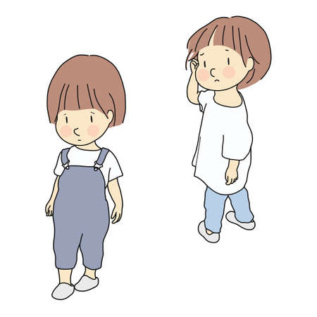 Illustration for Vector illustration of child conflict. Relationship, siblings & friends rivalry, child emotion problem, sad and anxious concept. Cartoon character drawing. - Royalty Free Image