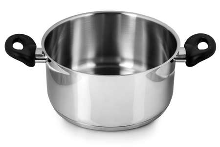 Photo for Stainless steel pot without cover. Isolated on white background - Royalty Free Image
