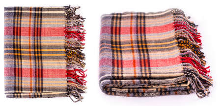 Photo for The Colore  winter wool scarf with pattern isolated on white - Royalty Free Image