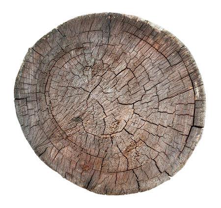 Photo pour The Wooden old stump, wood texture background isolate on white - image libre de droit