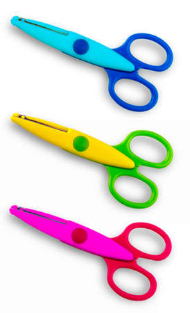 Photo for Colore baby scissors cut out on a white background. View from above. - Royalty Free Image