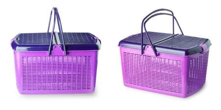 Photo for Hand craft plastic basket isolated on white background - Royalty Free Image