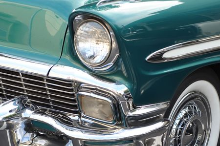 Vintage Aqua Blue Car Closeup